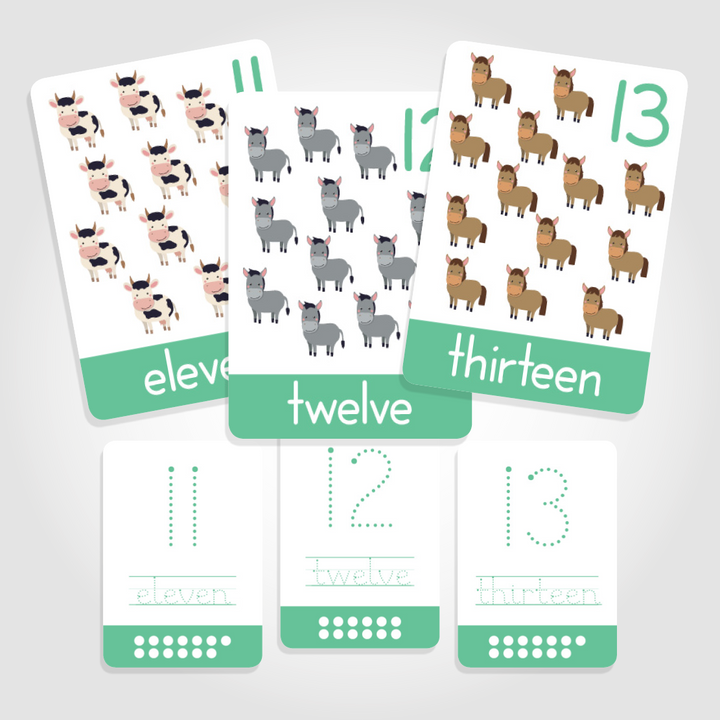 "Number Toddler Flashcards - ""Count + Write""  Numbers 11-20"
