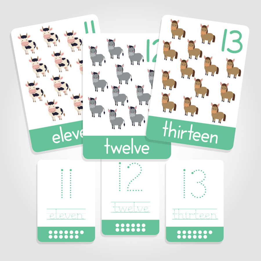 "Number Toddler Flashcards - ""Count + Write""  Numbers 11-20 - QUIRK + foible London"