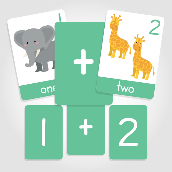 Number flashcards for toddlers, arithmetic flashcards, numbers 1-10