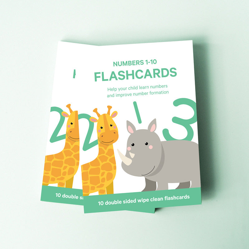 "Number Toddler Flashcards - ""Count + Write"" 1-10"