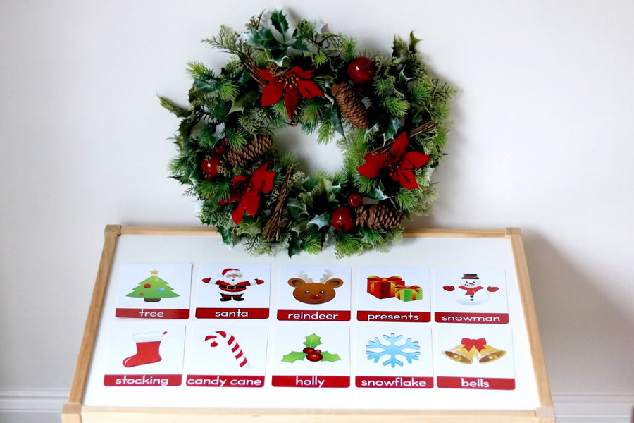 Christmas First Words Flashcards (+ Matching Game) - My Little Learner