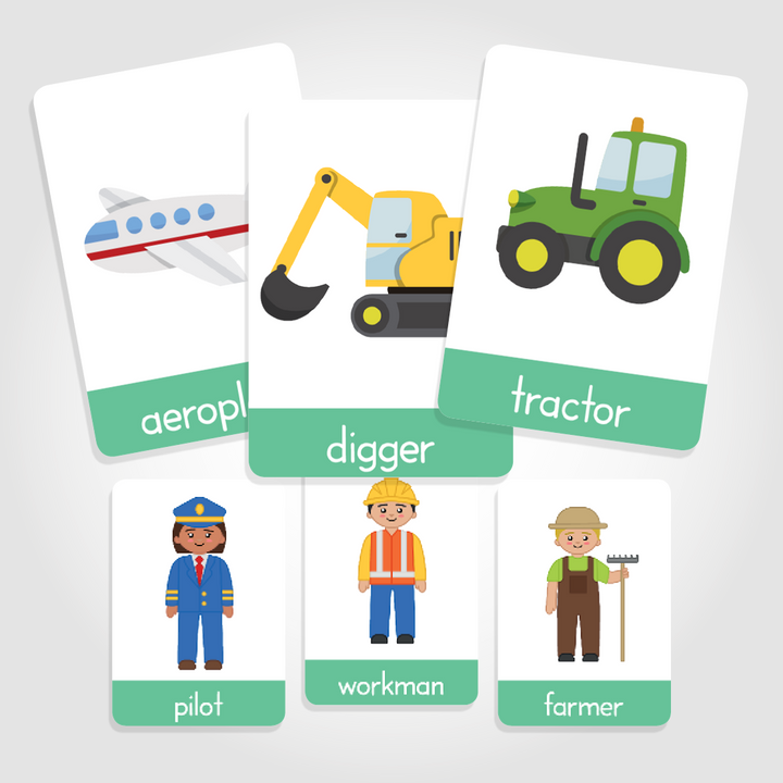 transport flashcards for toddlers, professions flashcards