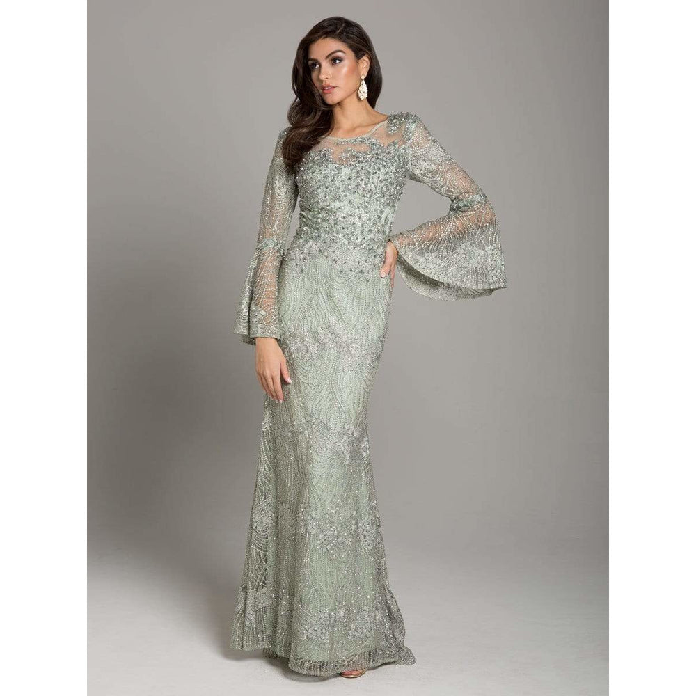 Dress Earth Dress 6 / Sage Lara 29887 - Flutter sleeves lace mermaid gown