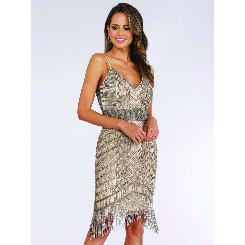 Dress Earth Dress Lara 29592 - Spaghetti Strap Fringe Dress