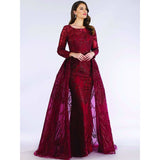 Dress Earth Dress Lara 29633 - Dark red gorgeous long dress with overskirt