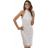 Dress Earth Dress Lara 51047 - Halter neck white modest cocktail dress