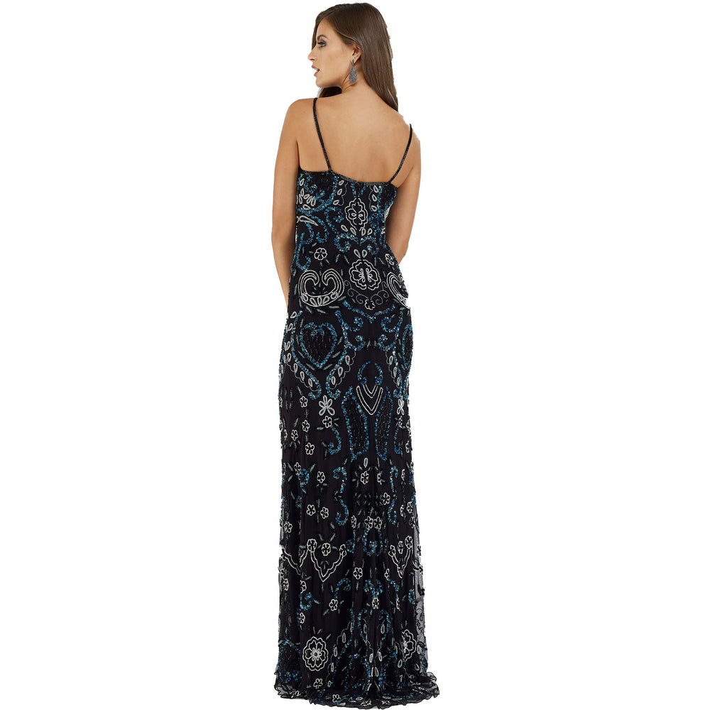 Dress Earth Lara 29537 - Black Muti color embellished long fitted dress