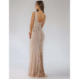 Dress Earth Lara 29539 -  embellished v neck long dress