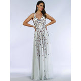 Dress Earth Lara 29544 - Beaded Dress with Open Cross Back and Flowy Skirt