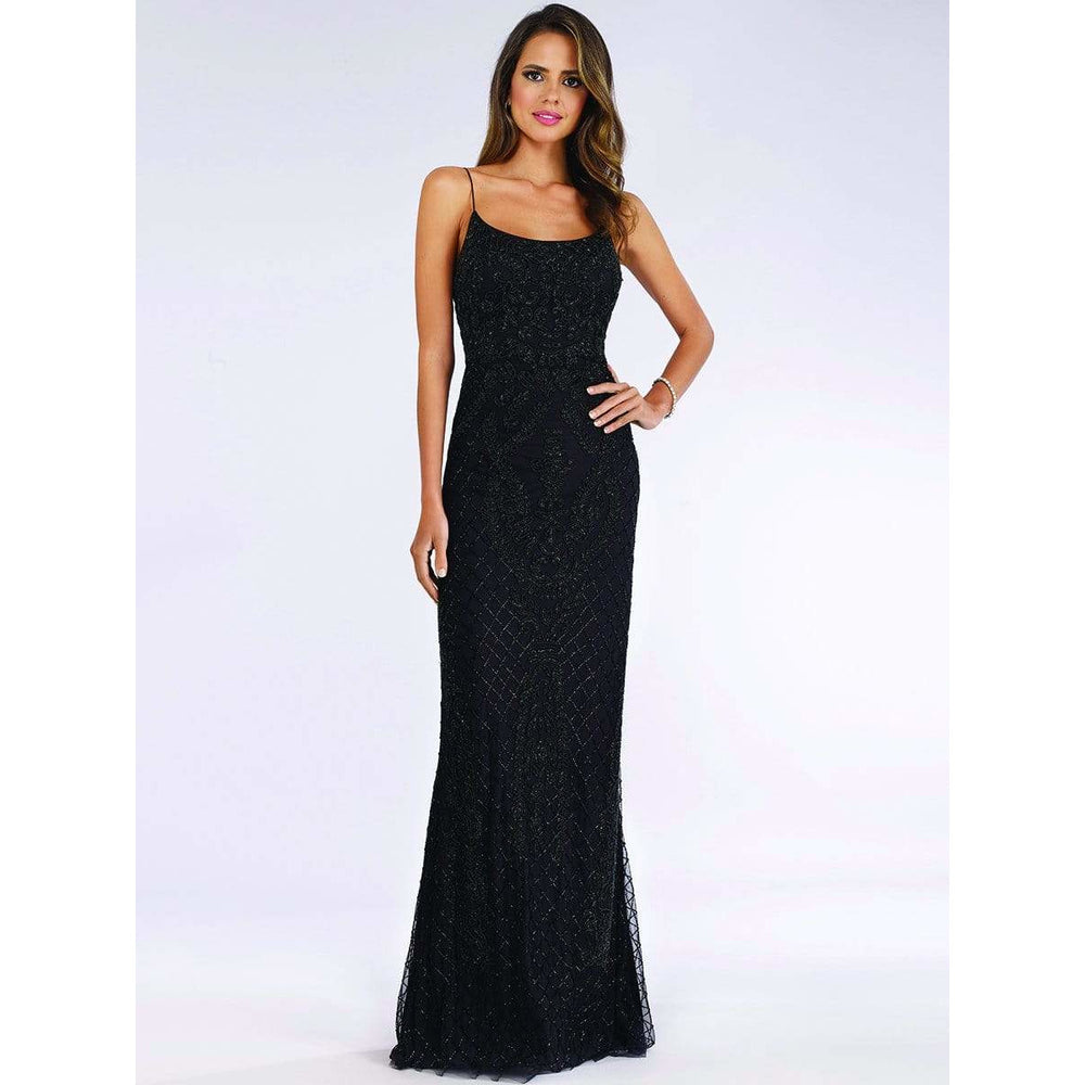 Dress Earth Lara 29577 - Lace Up Beaded Gown