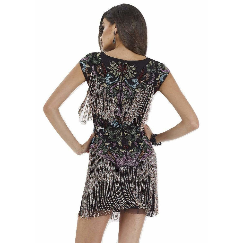 Dress Earth Lara 29578 - Beaded Fringes Short Dress