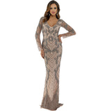 Dress Earth Lara 29596 - long sleeves sheer back long dress