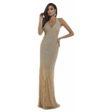 Dress Earth Lara 29598 - Feather Embellished Long Dress with Back Open