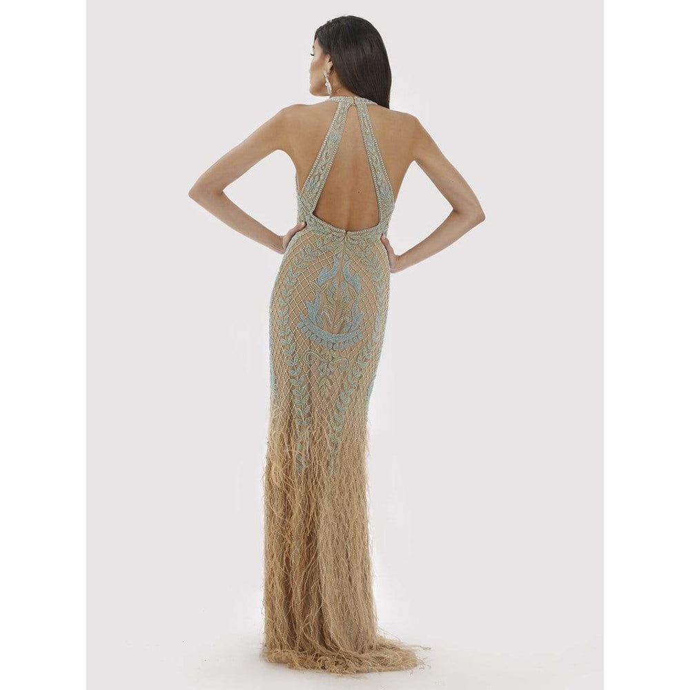 Dress Earth Lara 29598 - Fitted Open-Back Feather Gown