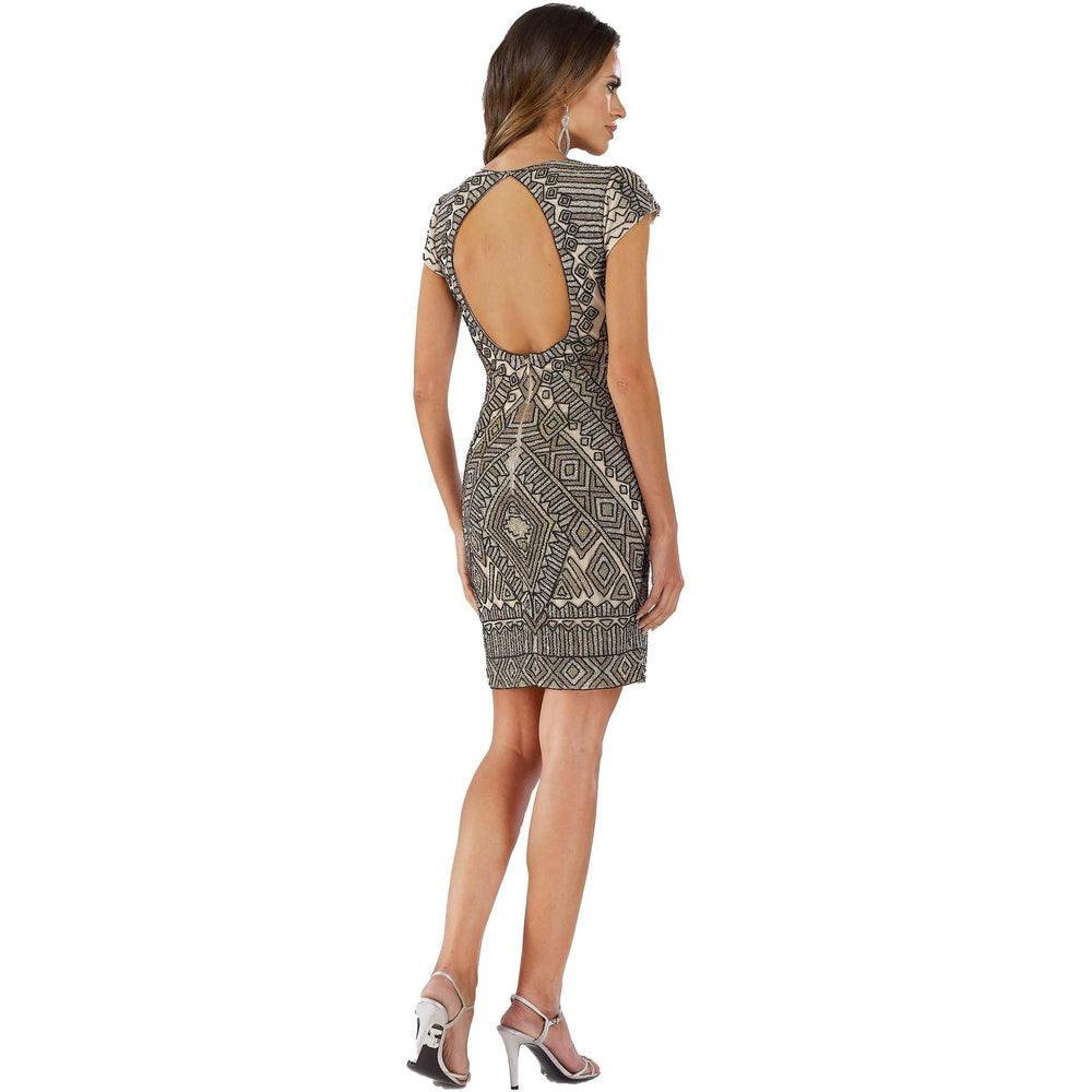 Dress Earth Lara 29607 - embellished v neck short dress