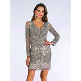 Dress Earth Lara 29610 - long sleeves embellished short dress