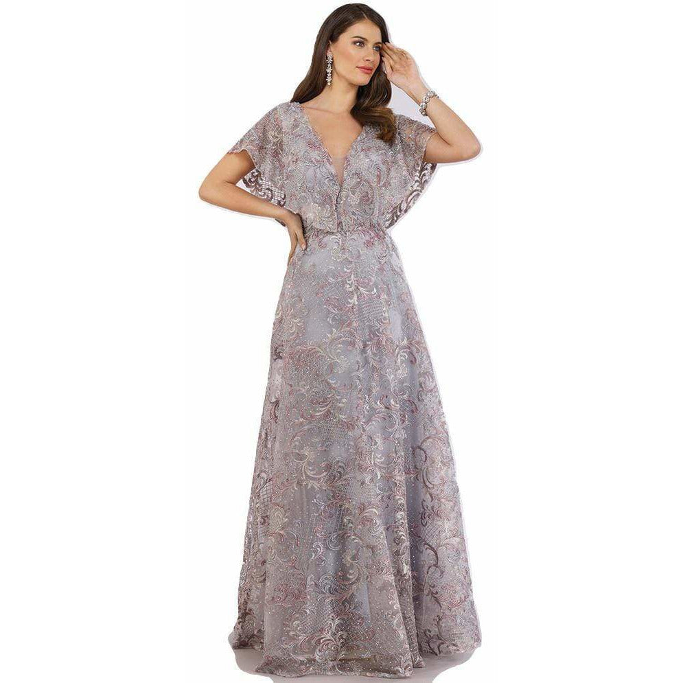 Dress Earth Lara 29641 - Cape sleeves embellished ball gown
