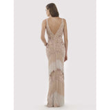 Dress Earth Lara 29709 - Beaded Fringes Long Dress