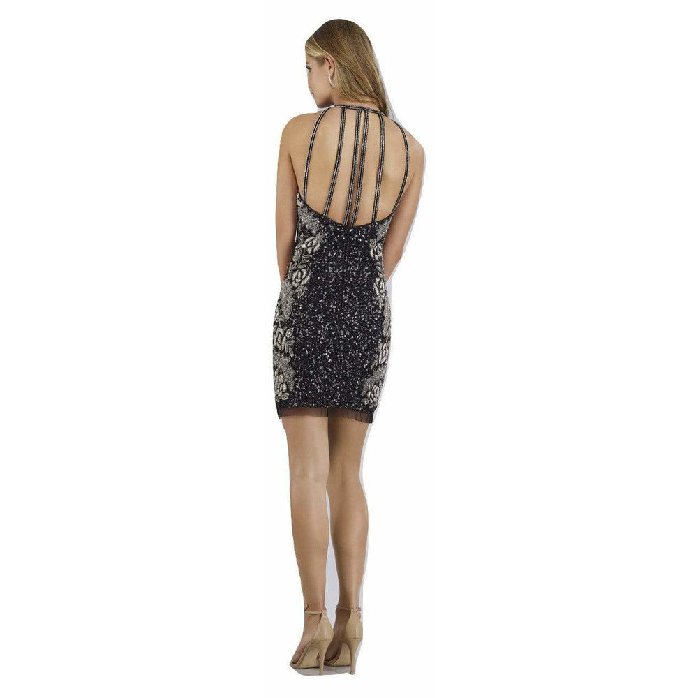 Dress Earth Lara 29718 - high Neck and Strappy Back Neck Beaded Short Dress