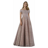 Dress Earth Lara 29765 - Sheer Off Shoulder Neck line Ballgown