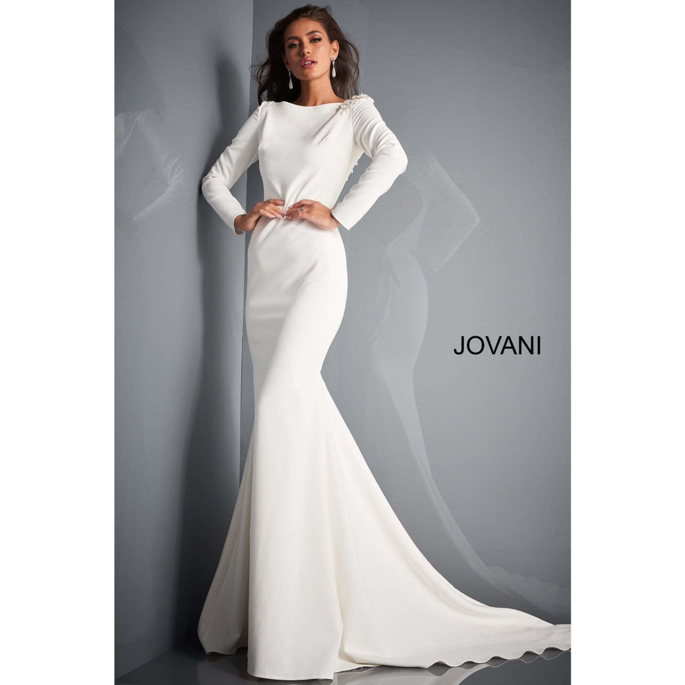 Jovani Bridal Gown JB2508 Ivory Long Sleeve Open Back Bridal Dress by Jovani