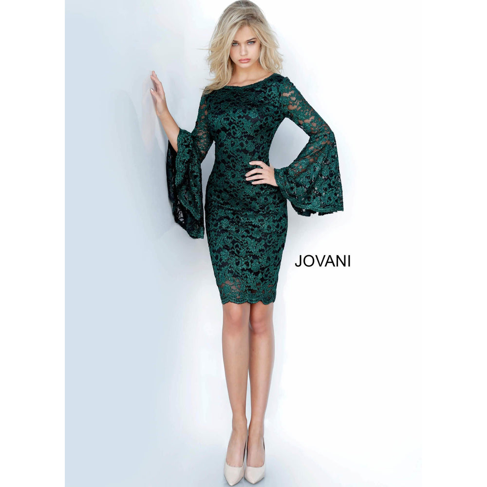 Jovani Cocktail Dress Jovani 03351 Bell Sleeve Lace Short Evening Dress