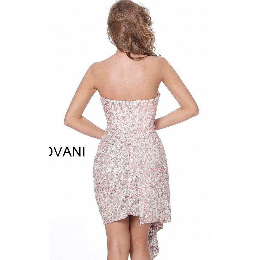 Jovani Cocktail Dress Jovani 04274 Blush Sequin Sweetheart Neckline Cocktail Dress