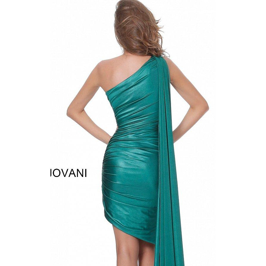 Jovani Cocktail Dress Jovani 04304 Green One Shoulder Ruched Cocktail Dress