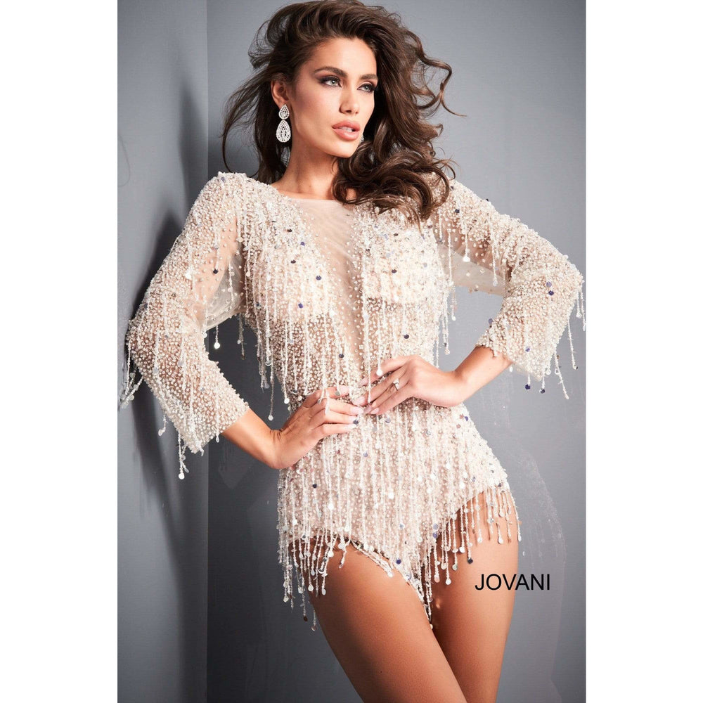 Jovani Cocktail Dress Jovani 04338 Off White Nude Long Sleeve Beaded Romper