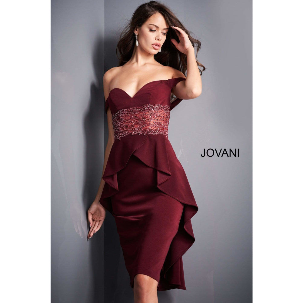 Jovani Cocktail Dress Jovani 04461 Wine Off the Shoulder Cocktail Dress