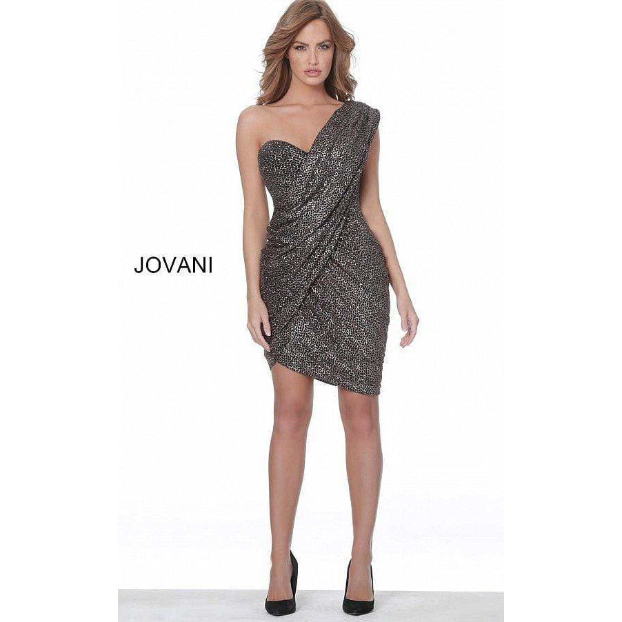 Jovani Cocktail Dress Jovani 04922 Black Rose Gold One Shoulder Short Dress