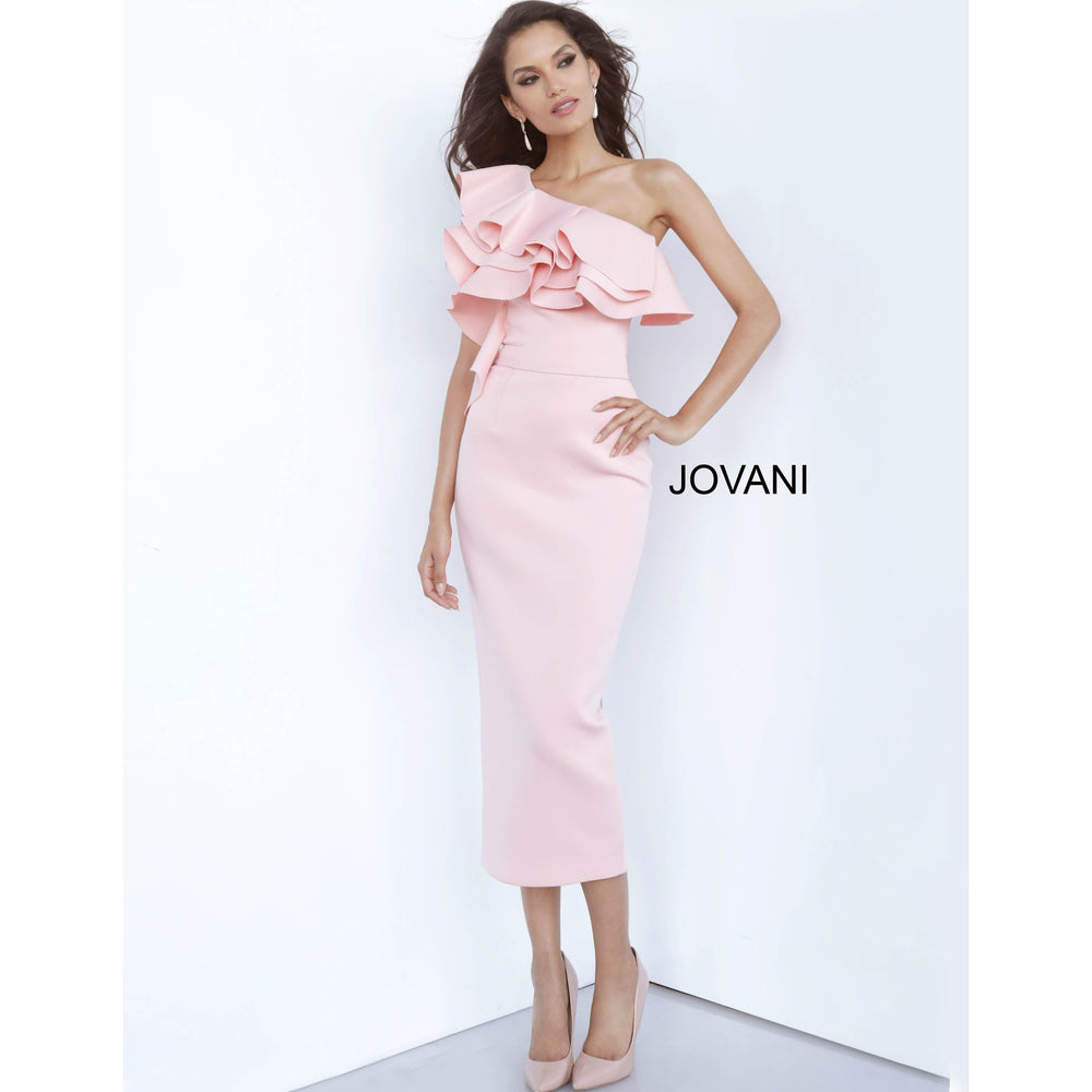 Jovani Cocktail Dress Jovani 1306 Blush Scuba One Shoulder Tea Length Cocktail Dress