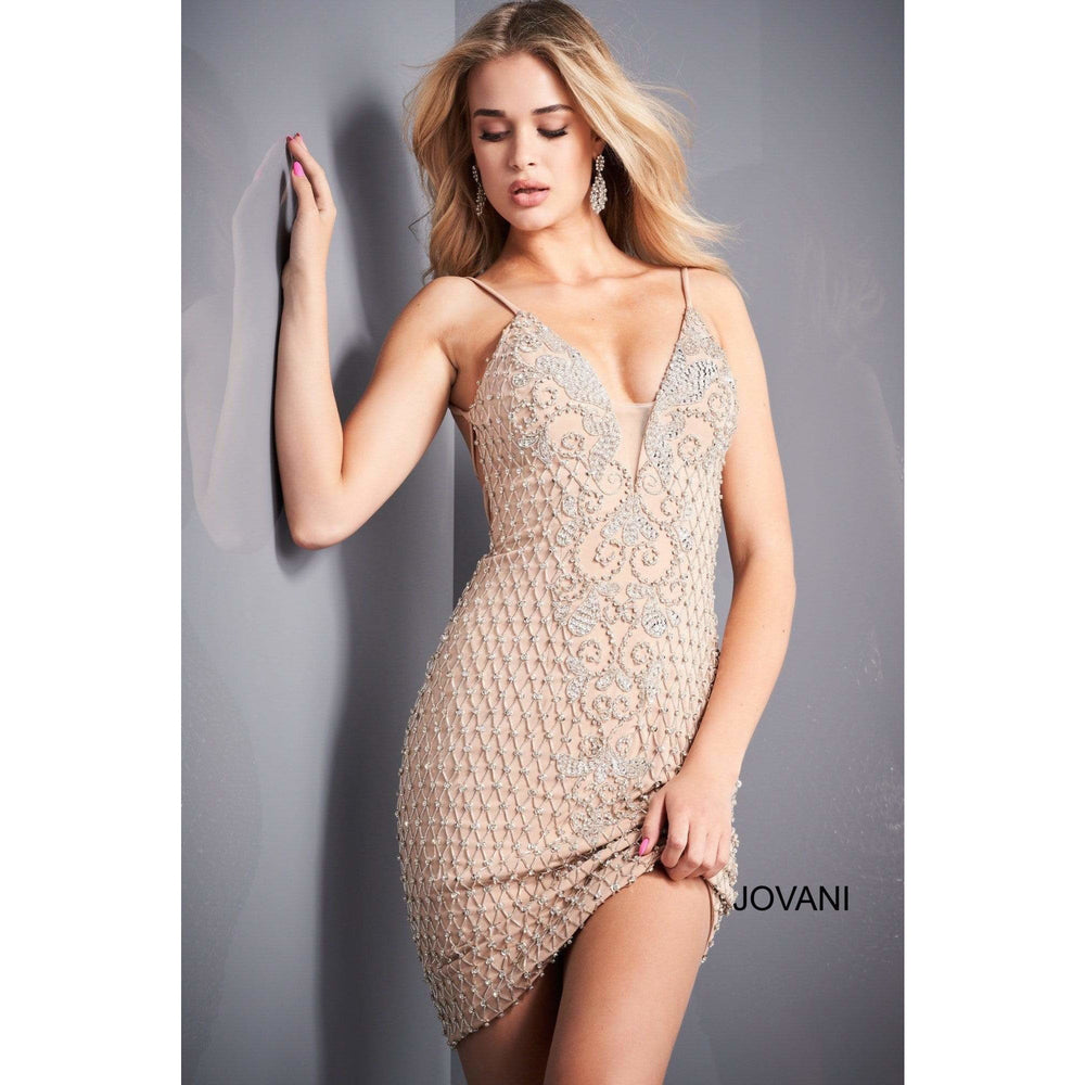 Jovani Cocktail Dress Jovani 3742 Nude Spaghetti Strap Beaded Cocktail Dress