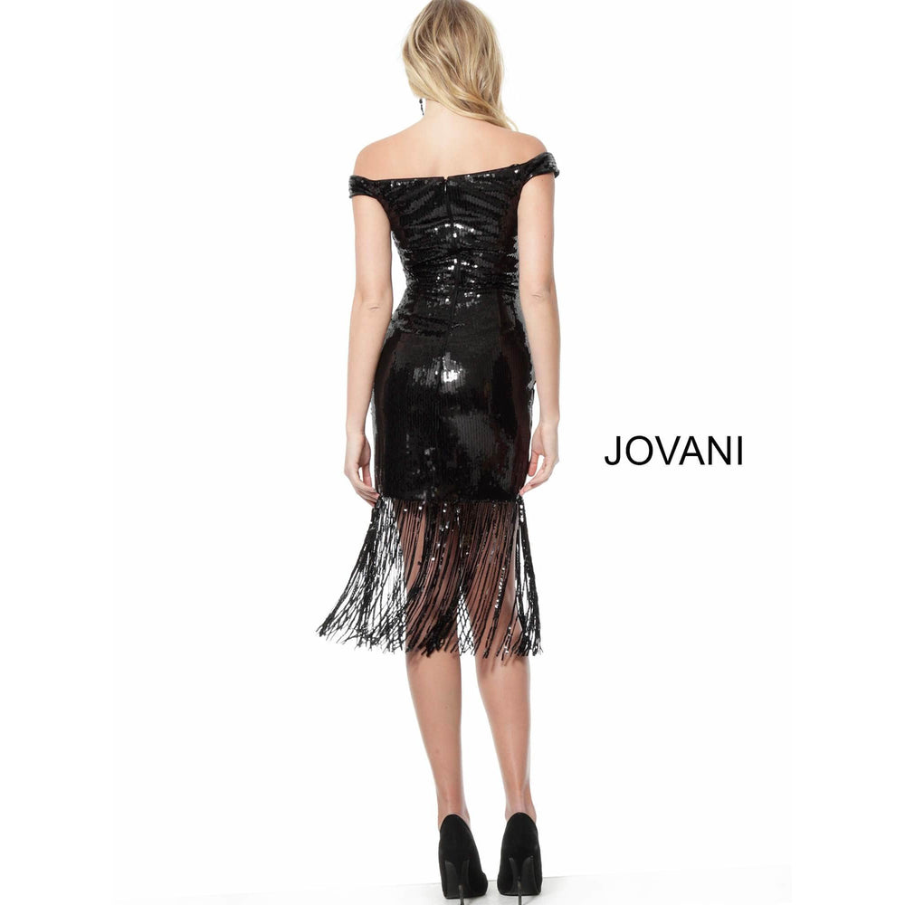Jovani Cocktail Dress Jovani 63636 Black Off the Shoulder Fitted Sequin Cocktail Dress