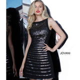 Jovani Cocktail Dress Jovani 66372 Black Embellished Sleeveless Cocktail Dress