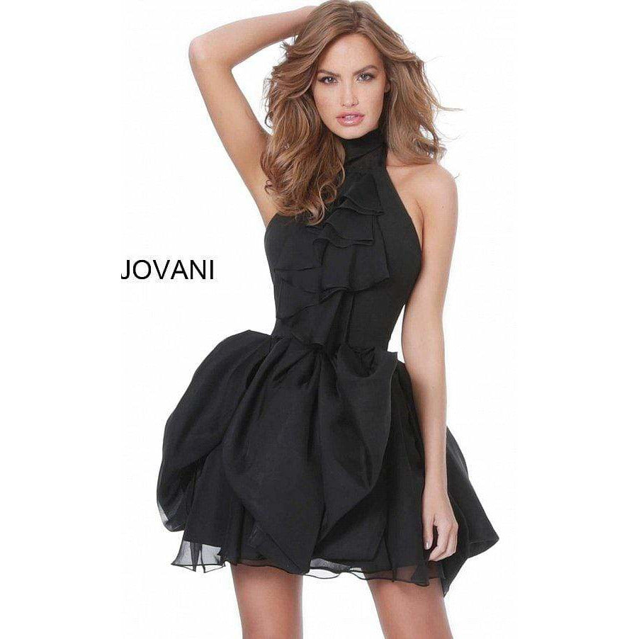 Jovani Cocktail Dress JOVANI - M1878 Ruffle Accented High Halter A Line Dress
