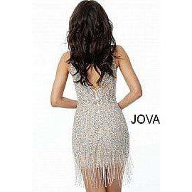 Jovani Cocktail Dress Nude Beaded Plunging Neckline Short Evening Dress 61572