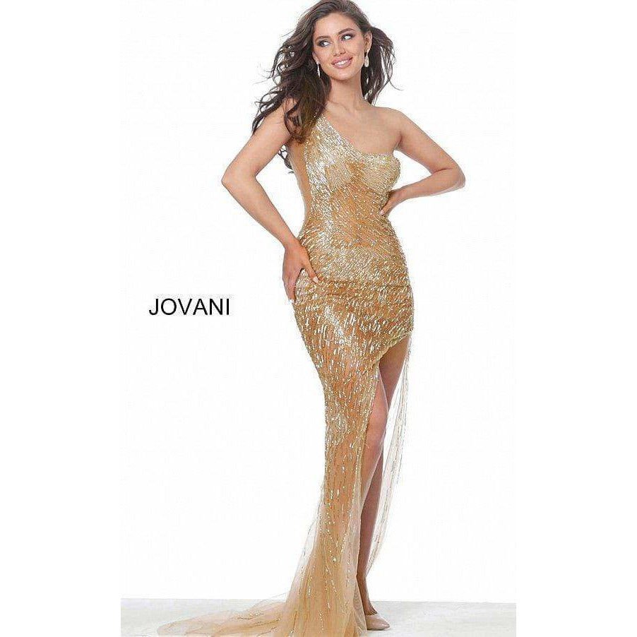 Jovani Couture Dress Jovani 02494 One shoulder beaded nude gold evening gown prom dress