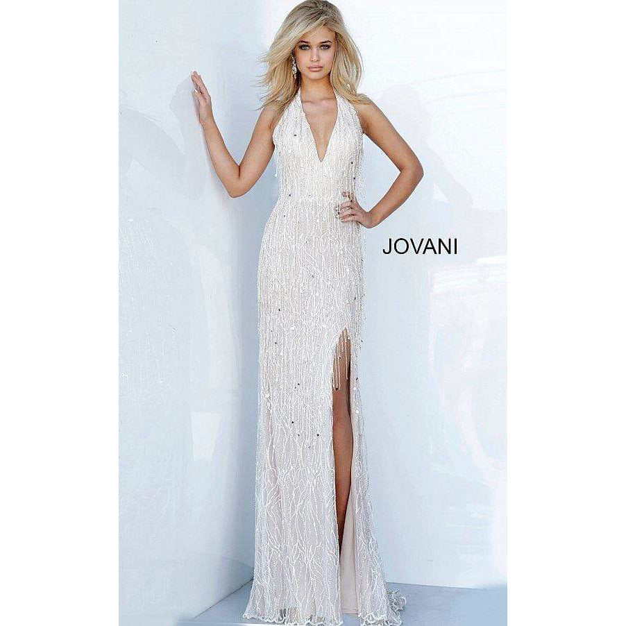 Jovani Couture Dress Jovani 3036 Halter Neckline Embellished Dress