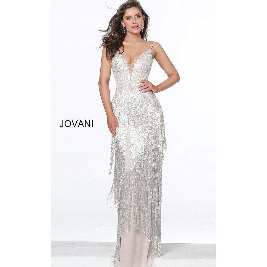 Jovani Couture Dress Jovani 8101 Silver Nude Fringe Plunging Neck Dress