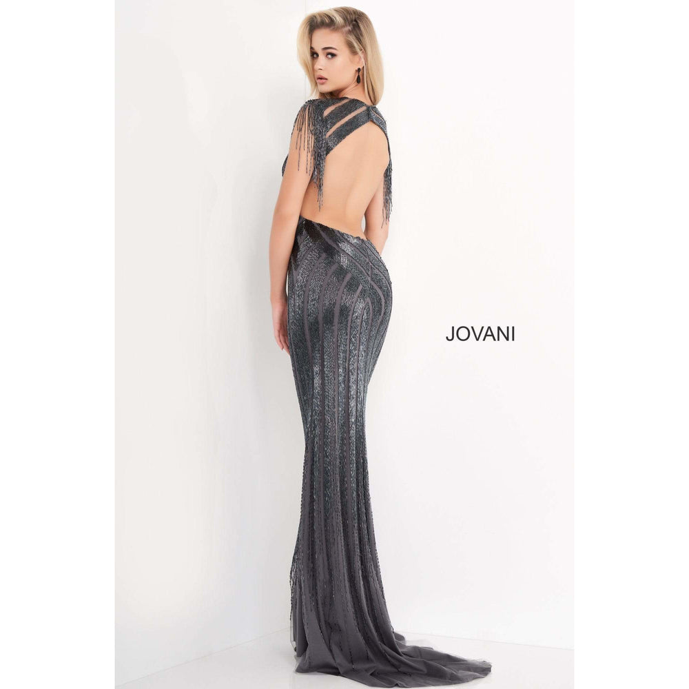 Jovani Couture Gown Jovani 40900 Gunmetal Embellished Open Back Evening Dress