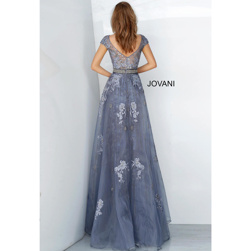 Jovani Dress Jovani 02327 Embroidered Cap Sleeve Dress