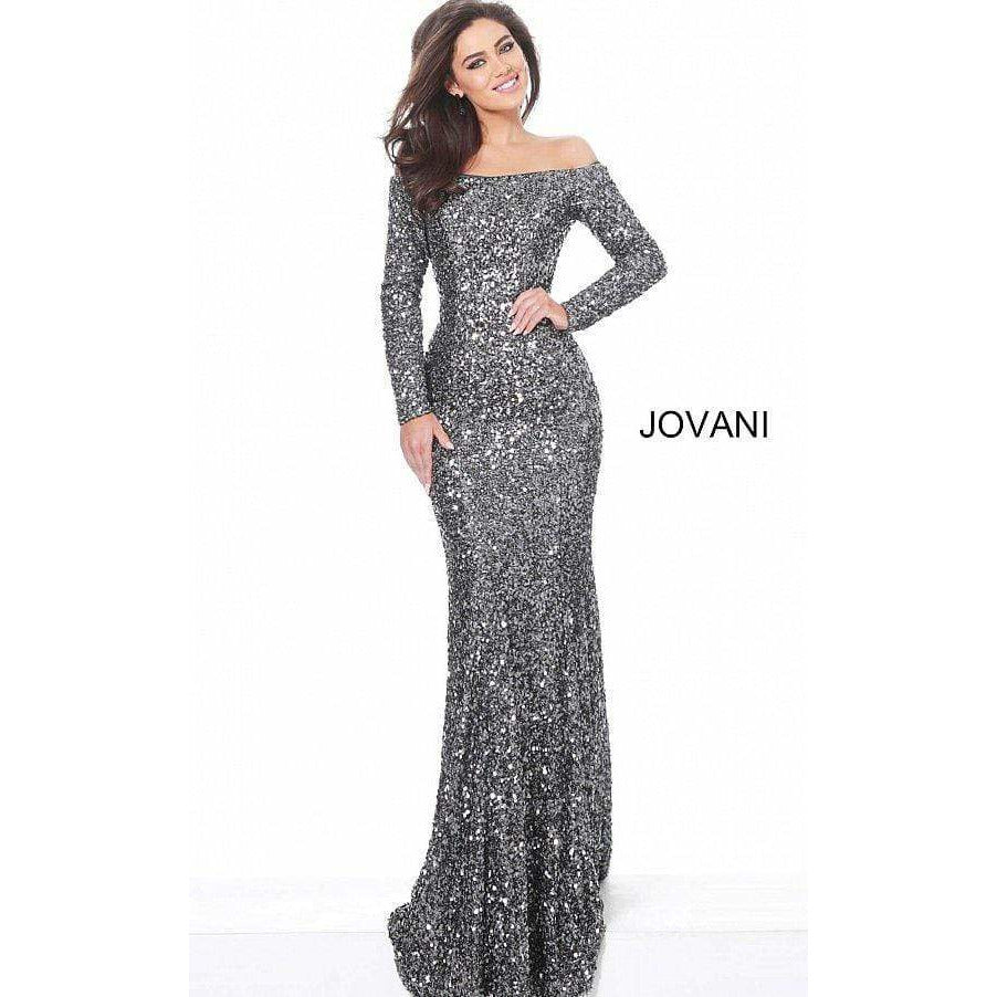 Jovani Dress Jovani 61470 Gunmetal Off the Shoulder Sequin Evening Dress
