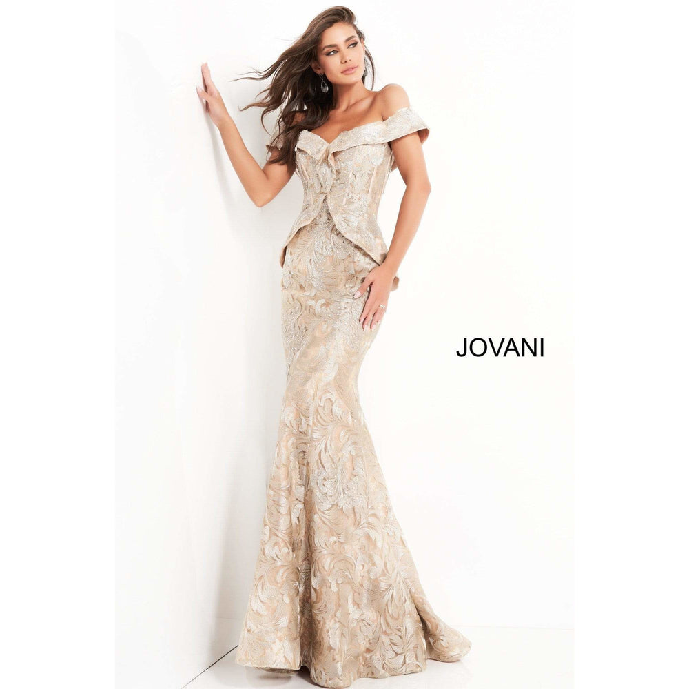 Jovani Evening Dress Jovani 02762 Gold Embellished Off the Shoulder Evening Dress