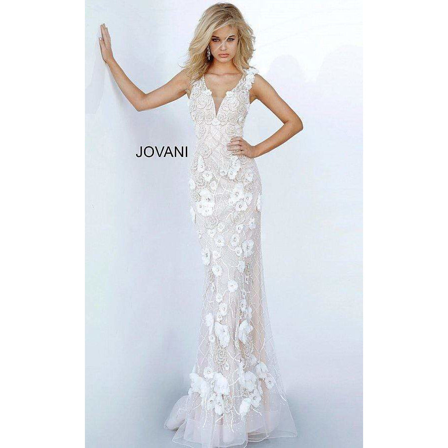Jovani Evening Dress Jovani 02773 Floral Applique Evening Dress