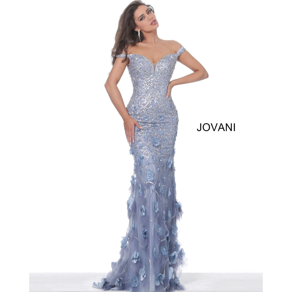 Jovani Evening Dress Jovani 03191 Violet Floral Appliques Plunging Neck Evening Dress