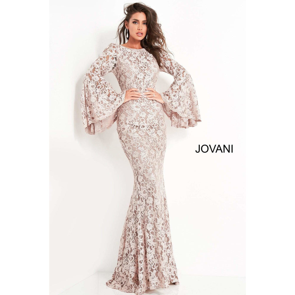 Jovani Evening Dress Jovani 03352 Bell Sleeve Fitted Lace Dress