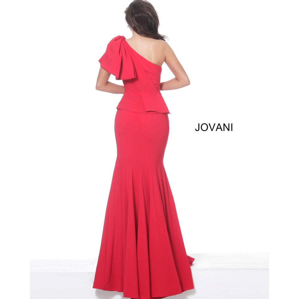 Jovani Evening Dress Jovani 03856 Red One Shoulder Peplum Evening Dress