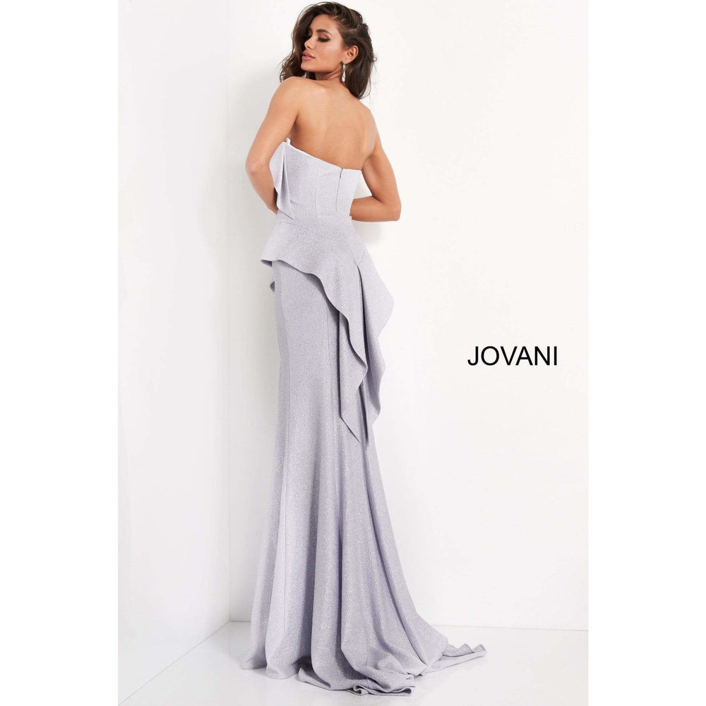 Jovani Evening Dress Jovani 04430 Silver Strapless Sweetheart Neck Evening Dress
