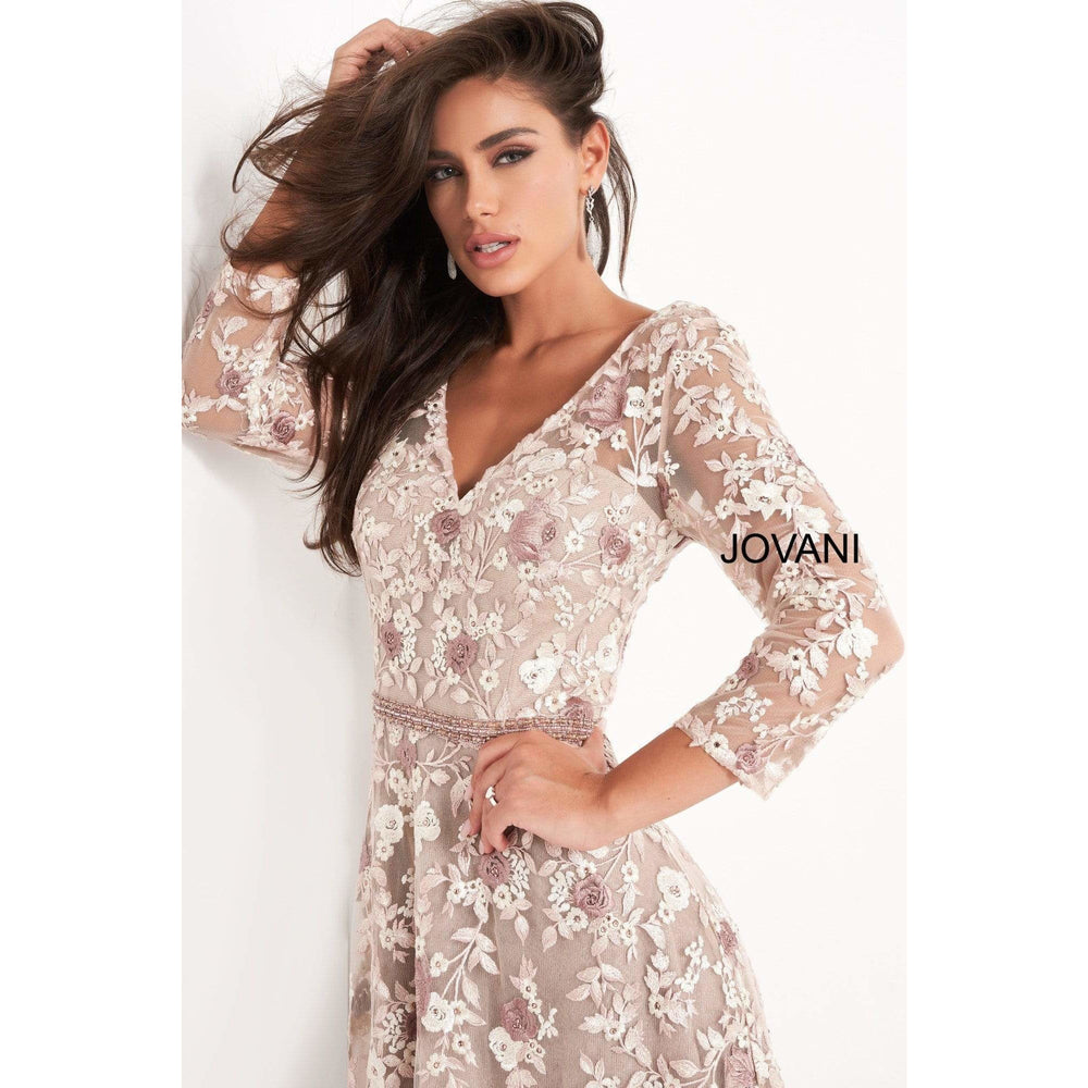 Jovani Evening Dress Jovani- 04451 Quarter Sleeve Floral Embroidered A- Line Gown